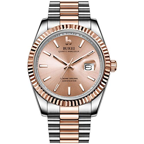 BUREI Mens Watches Luxury Analog Quartz Wristwatch Rose Gold Dial Calendar Display Sapphire Crystal Lens with Two Tones Stainless Steel Band