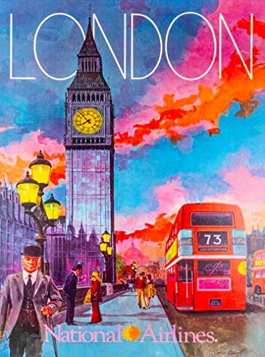 A SLICE IN TIME London England Great Britain National Airlines Vintage Travel Wall Decor Home Collectible Advertisement Art Poster Print. 10 x 13.5 inches.