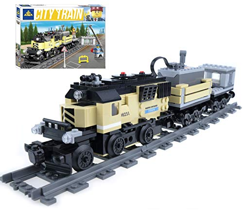 inFUNity Motorized Cargo Toy Trains Blocks Compatible with Lego Train Track, Electric Train Set