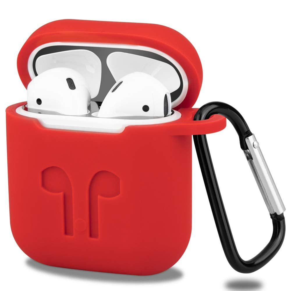 Slim and Lightweight Supports Wireless Charging Front Led Not Visible - Red 1 - iBazal Silicone Cover AirPods Case Protective Compatible with Apple AirPods 2