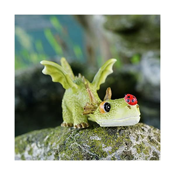 Top Collection 4414 Miniature Fairy Garden Terrarium Mini Dragon Playing With Ladybug Statue Small