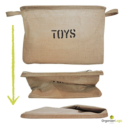 OrganizerLogic Burlap Storage Organizer Basket - Heavy Duty Storage Basket - Perfect Storage Jute Basket for Laundry, Shoes and Kids Toys - 22'' x 15'' x 14'' by OrganizerLogic (Image #6)