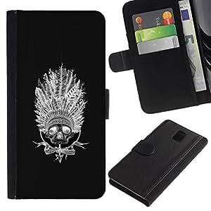 All Phone Most Case / Oferta Especial Cáscara Funda de cuero Monedero Cubierta de proteccion Caso / Wallet Case for Samsung Galaxy Note 3 III // Indian Native American Headgear Black