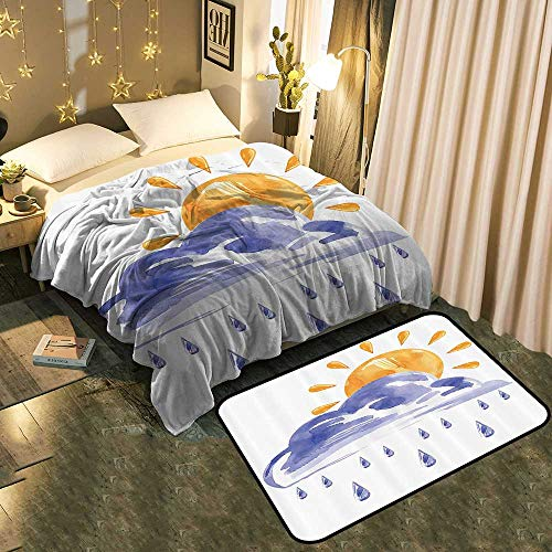 (TableCovers&Home Print Throw Blanket and Multi-Color Modern Area Rug Set Environmental Protection Fabric Blanket 50