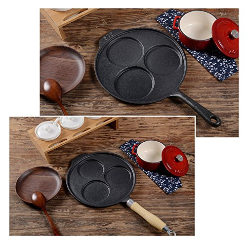 3 Holes Omelet Frying Pan Cast Iron fried egg dumplings pot without coating iron pot Fried Eggs breakfast hamburg pot (Iron handle)