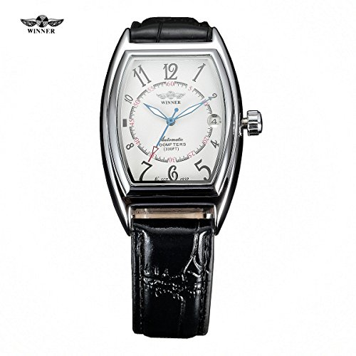 WINNER Automatic Mechanical Watches Tonneau Dial Black Leather Strap Self wind Auto Date Male Mens Wristwatch (Automatic Watch Tonneau)