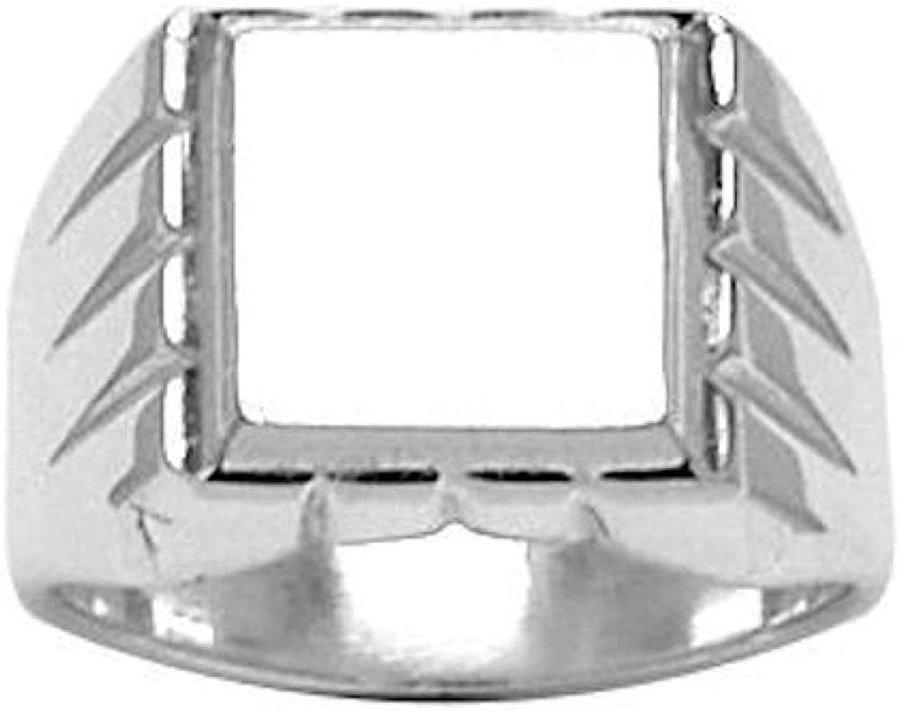 Customisable So Chic Jewels Your Message Engraved Free 925 Sterling Silver Grooved Contour Square Support Signet Ring