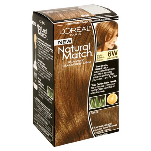 L'Oreal Natural Match No-Ammonia Color-Calibrated Creme, Light Golden Brown, 6W Warmer