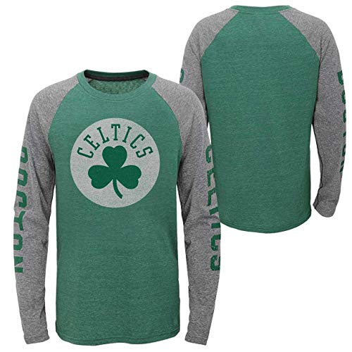 (NBA by Outerstuff NBA Youth Boys Boston Celtics Fadeaway Long Sleeve Raglan Tee, Kelly Green, Youth)