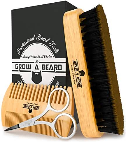 Beard Comb & Brush Set for Men's Care | Giveaway Mustache Scissors Presented in Premium Gift Box | Best Bamboo Grooming Kit to Spread Balm or Oil for Growth & Styling | Adds Shine & Softness