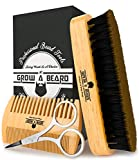 Beard Comb & Brush Set for Men's Care | Giveaway Mustache Scissors Presented in Premium Gift Box | Best Bamboo Grooming Kit to Spread Balm or Oil for Growth & Styling | Adds Shine & Softness (Bamboo)