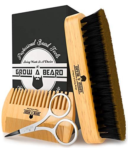 Beard Brush & Comb Set for Men's Care | Giveaway Mustache Scissors | Gift Box & Perfect for Travel | Best Bamboo Grooming Kit to Spread Balm or Oil for Growth & Styling | Adds Shine & Softness