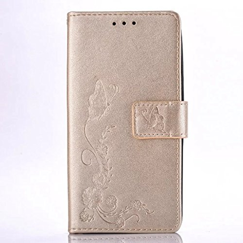 Price comparison product image Butterfly Floral Clover Embossed PU Leather Magnetic Flip Cover Card Holders & Hand Strap Wallet Purse Cover Case For Mobile Cell Phone (LG G5 / H850 H840)