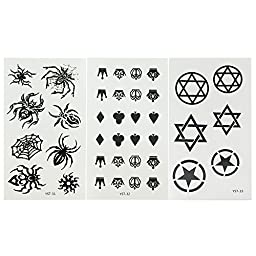 [18 Sheets] [For Kids Girls Women Men] Small Size Fashion Unisex Pattern Removable Waterproof Temporary Tattoos Paper Body Art Stickers Spider Sword Paw Print Letters Gun Stars Cross Crown Quotes etc