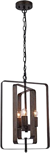 Aipsun Industrial Metal Pendant Light Rustic Adjustable Chandelier Ceiling Lamp Wood Texture Industrial Ceiling Hanging Light Fixture Exclude Bulb