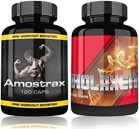 Holaxen und Amostrax Complex Testo Pre Workout Booster Extreme By Varg Power, 120 Kapseln, Beliebt bei Bodybuilder...