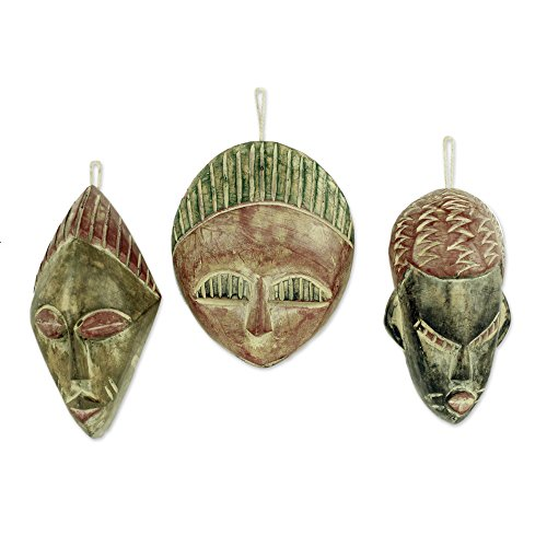 NOVICA Handcrafted Rustic Christmas Magi Wood Hanging Holiday Tree Ornaments, Three Kings' (Set of 3) (Ornament Face Christmas)