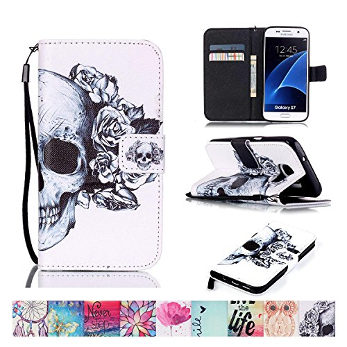 Price comparison product image Galaxy S7 Case, Firefish [Kickstand] Flip Folio Wallet Cover Anti-Scratches Protective Shell with Cards Slots Magnetic Closure for Samsung Galaxy S7