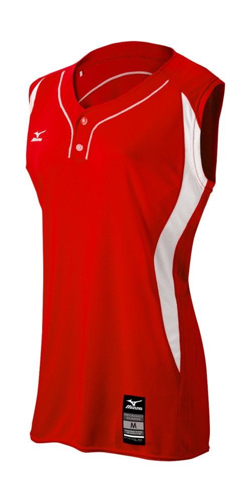 Mizuno Girl 's Elite 2ボタンゲームJersey – Sleeveless B01JF1OLEK LARGE (L)|レッド-ホワイト レッド-ホワイト LARGE (L)