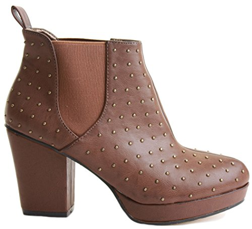 WOMENS BOOTIES Tan BOOTS HIGH 8 HEELED 22 CHELSEA WINTER 3 MID BLOCK PLATFORM LADIES Style ANKLE HEEL SIZE Fwr1qFX