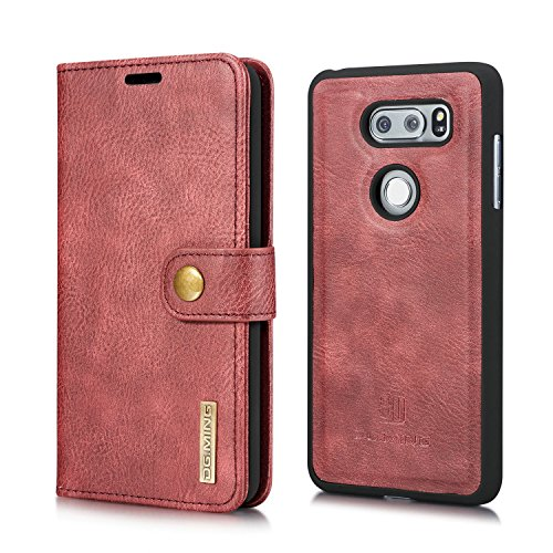 HIKERCLUB LG V30 LG V30+ Wallet Case Detachable 2 in 1 Vintage Cowhide Leather Flip Cover Folio Style Stand Feature Magnetic Clasp Closure Cash Pocket Card Holder for LG V30 LG V30+ (Red)