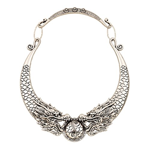 Lanue Women Retro Ethnic Carved Colorful Chunky Collar Choker Necklace Indian Exaggerated Jewelry (Silver dragon)