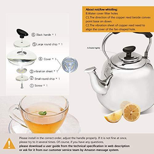 Tea Kettle Stovetop Teapot Stainless Steel Hot Water Kettle Whistling - Mirror Finsh,Folding Handle, Fast To Boil, 2 Liter Whistling Teakettles by Weftnom (Image #2)