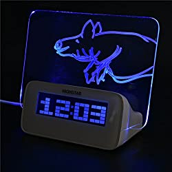 Richer-R LED Digital Alarm Clock with LED Fluorescent Message Board Temperature Calendar Timer 4 USB Port Highlighter