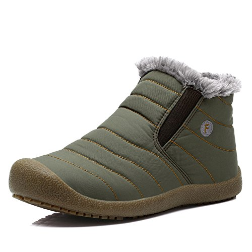 Fur YIRUIYA Top Snow Lined Slip Top With Low Boots Green Fully Top High Anti High Mens 4wSxqw0Hp