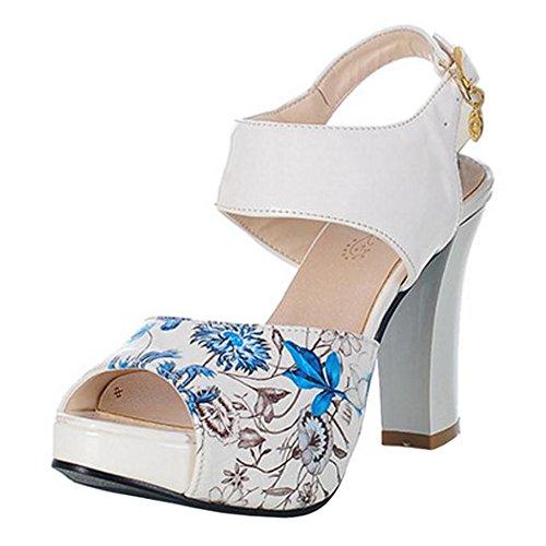 Peep Blue RAZAMAZA Toe Zapatos Mujer Sandalias 58XwvXgx