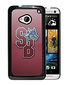 NCAA Stony Brook Seawolves 7 Black HTC ONE M7 Protective Phone Cover Case