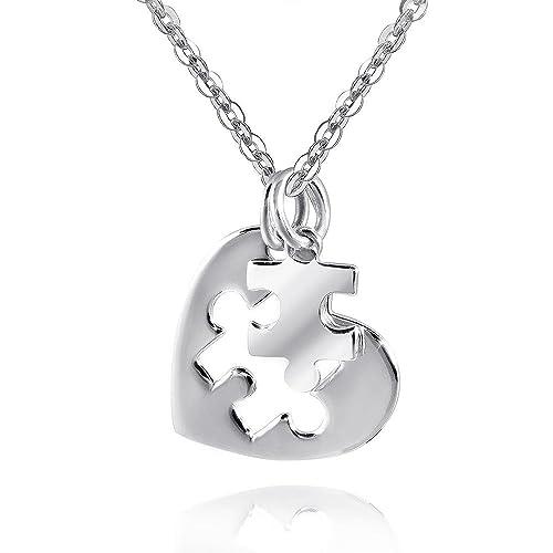 alta calidad los más valorados precios baratass MATERIA amistad colgante puzzle plata 925 2 piezas cadena colgante corazón  amor amistad incluye caja # KA-338