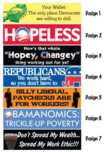 Humorous Republican Bumper Sticker set of 7 Different Designs - Support Republicans Today!