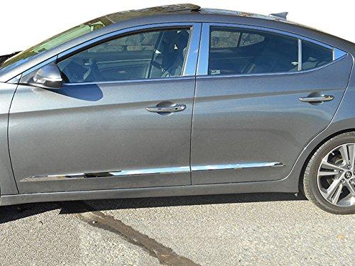- QAA FITS ELANTRA 2017-2018 HYUNDAI (16 Pc: Stainless Steel Window Trim Package w/pillar trim & upper window trim, 4-door) WP17340