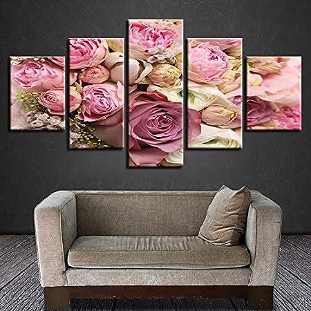 LZLZ 5 lienzos Imagen Moderna de Alta definición con impresión 5 Piezas, Hermosa Rosa Blanca Rosa, Flor, bodegón, Lienzo Modular, Pintura Decorativa, Sala de Arte de la Pared