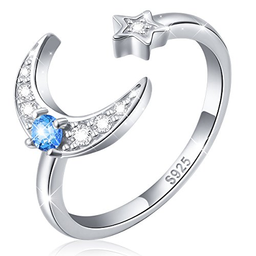 925 Sterling Silver Cz Moon St