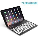 Image of Keyboard Case for iPad PRO 9.7 Inch / iPad Air 2-LED 7 Colors Backlit Bluetooth keyboard with 130° Folio Hard Back Cover, Ultra Slim, Aluminum Alloy- (for iPad model:A1566/A1567/A1673/A1674)