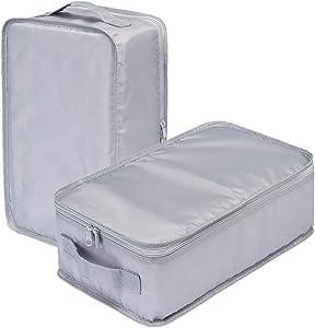 Travel Shoe Bags, Foldable Waterproof Shoe Puches Organizer-Double Layer (2 Grey Shoe Bags)