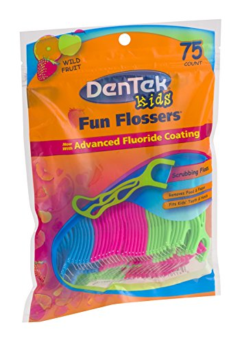 Dentek Kids Fun Flossers with Advanced Fluoride Coating | Removes Food & Plaque | Wild Fruit Flavored Floss Picks | 75 Count | Pack of 6 by DenTek (Image #2)