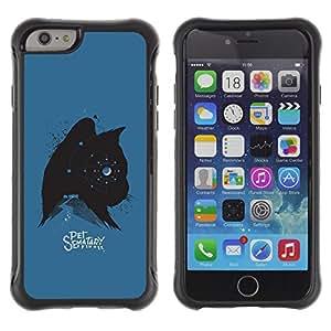 Be-Star único patrón Impacto Shock - Absorción y Anti-Arañazos Funda Carcasa Case Bumper Para Apple iPhone 6(4.7 inches) ( Cat Kitten Pet Stars Spooky Blue Black )