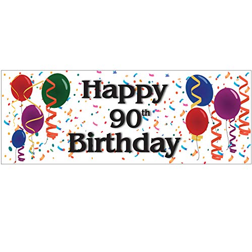 BANNER BUZZ MAKE IT VISIBLE Happy 90th Birthday Vinyl Banner 11 Oz with Metal Grommets & Hemmed Edges for Decoration, Business, Outdoor, Party, Events, Office (64