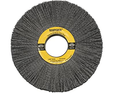 "Brush Research CW81320SC Nampower Composite Hub Abrasive Nylon Wheel Brush, Round Hole, Silicon Carbide Filament, 8"" Diameter, 0.022"" Wire Diameter, 2"" Arbor Hole, 2.5"" Bristle Length, (Pack of 1)"