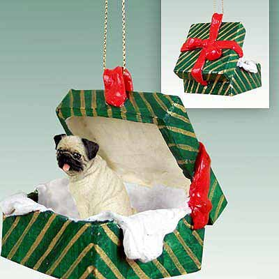 Conversation Concepts Pug Green Gift Box Dog Ornament - Fawn