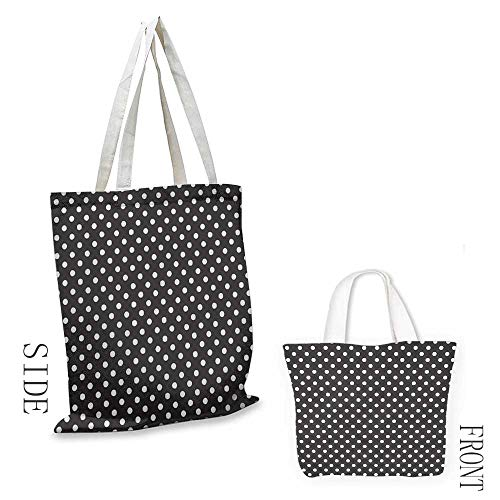 Ladies casual canvas bag Black and White Classical Pattern of White Polka Dots on Black Traditional Vintage Design Cosmetic bag 16.5