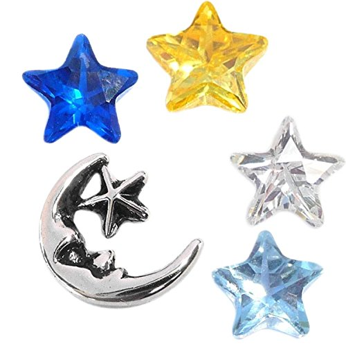 (Star Light Star Bright Celestial Charm Set for Floating Lockets Jewelry)