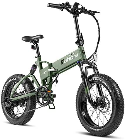 eAhora X7 500W Fat Tire Folding Electric Bike 48V 28MPH Snow Beach Electric Bikes for Adults Full Suspension Shimano7 Speed E-PAS Recharge System