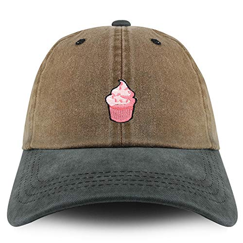 Trendy Apparel Shop Cupcake Patch Pigment Dyed Cotton Twill Unstructured Dad Hat - Khaki Green