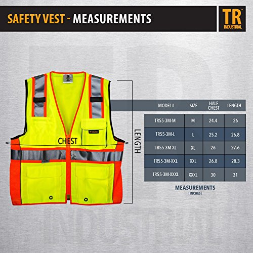 TR Industrial TR55-3M-M Class 2 3M Safety Vest with Pockets and Zipper, Medium Photo #2