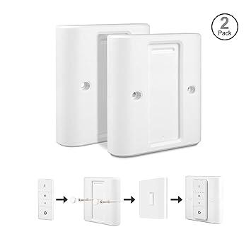 Rhodesy Interruptor Luz Tapa para Philips Hue Interruptor de Atenuación Inalámbrico Inteligente, Adaptador Blanco Altamente Compatible Tapa Paquete de 2: ...