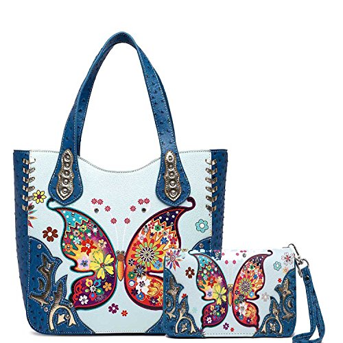 Cowgirl Trendy Western Colorful Butterfly Carry Concealed Handbag Tote Bag and Wallet (Turquoise)